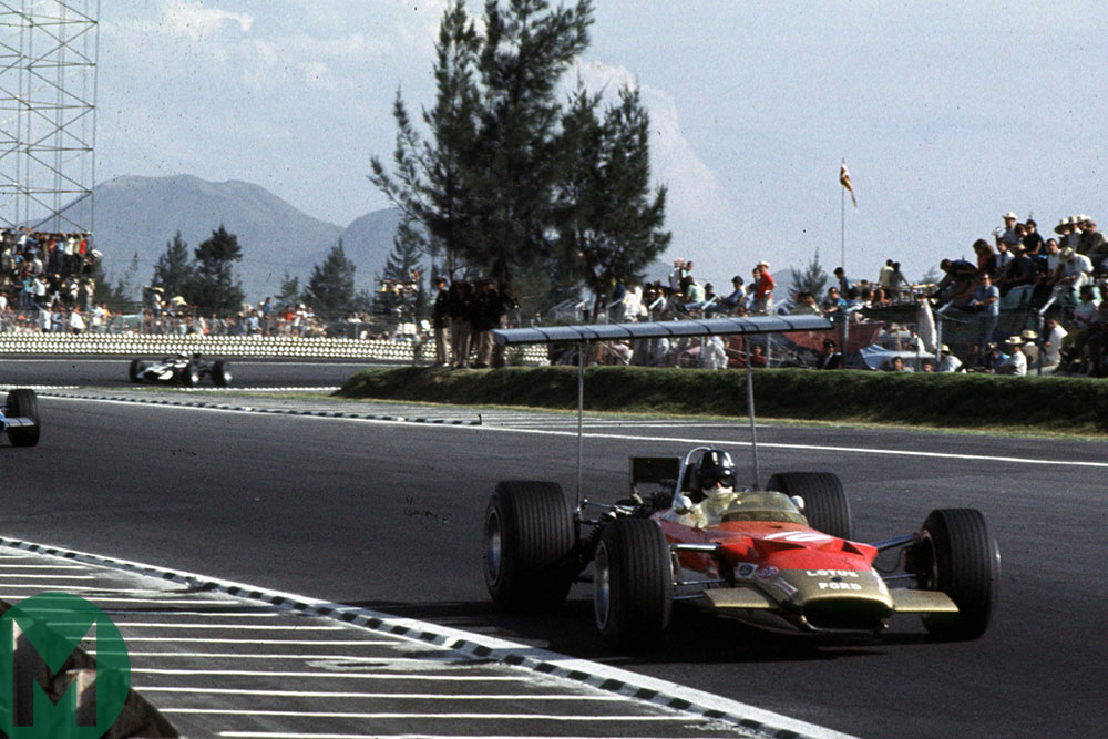Graham Hill of Team Lotus in the 1968 Mexican Grand Prix