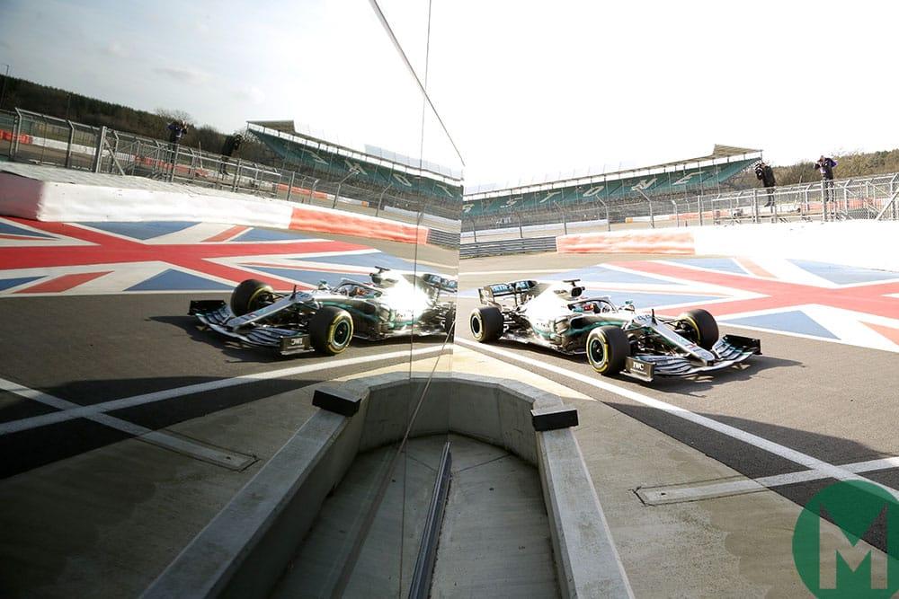 Mercedes W10 F1 car 2019 filming day