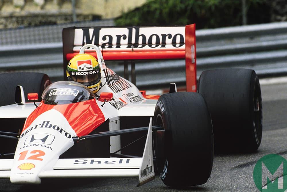 Ayrton Senna in the McLaren MP4/4 in the 1988 Monaco Grand Prix