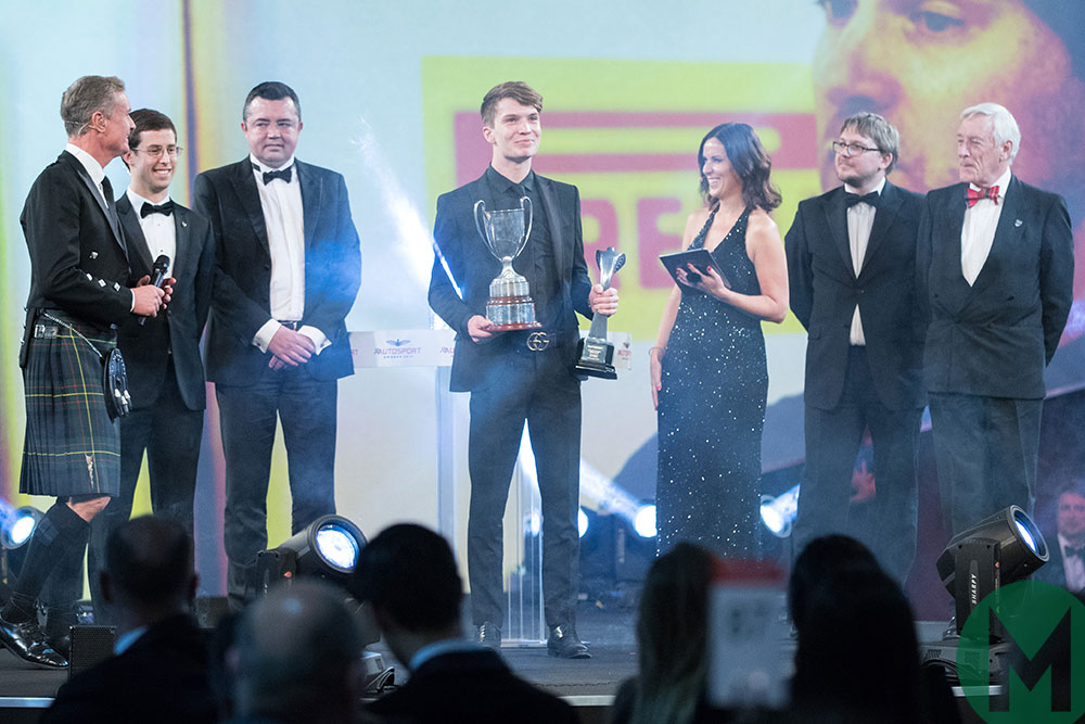 Dan Ticktum celebrates winning the 2017 Autosport BRDC Award