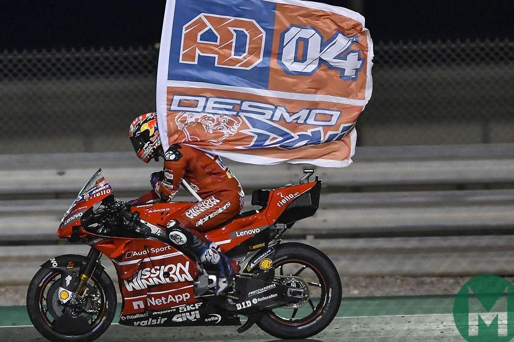 Ducati's Andrea Dovizioso celebrates victory in the 2019 Qatar Grand Prix