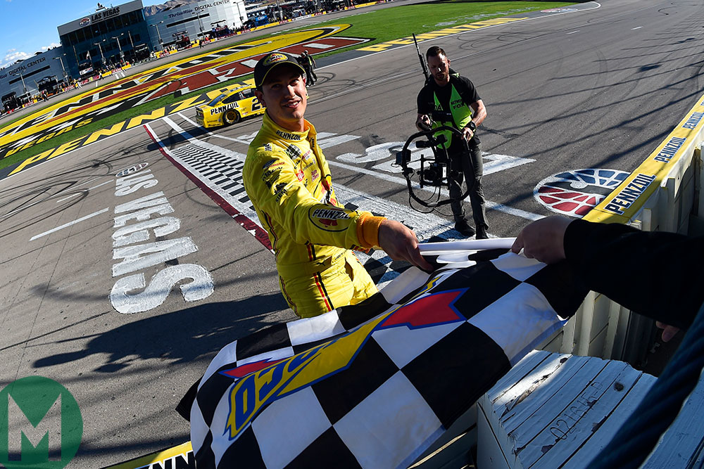 Joey Logano celebrates victory for Penske in Las Vegas in the Ford Mustang