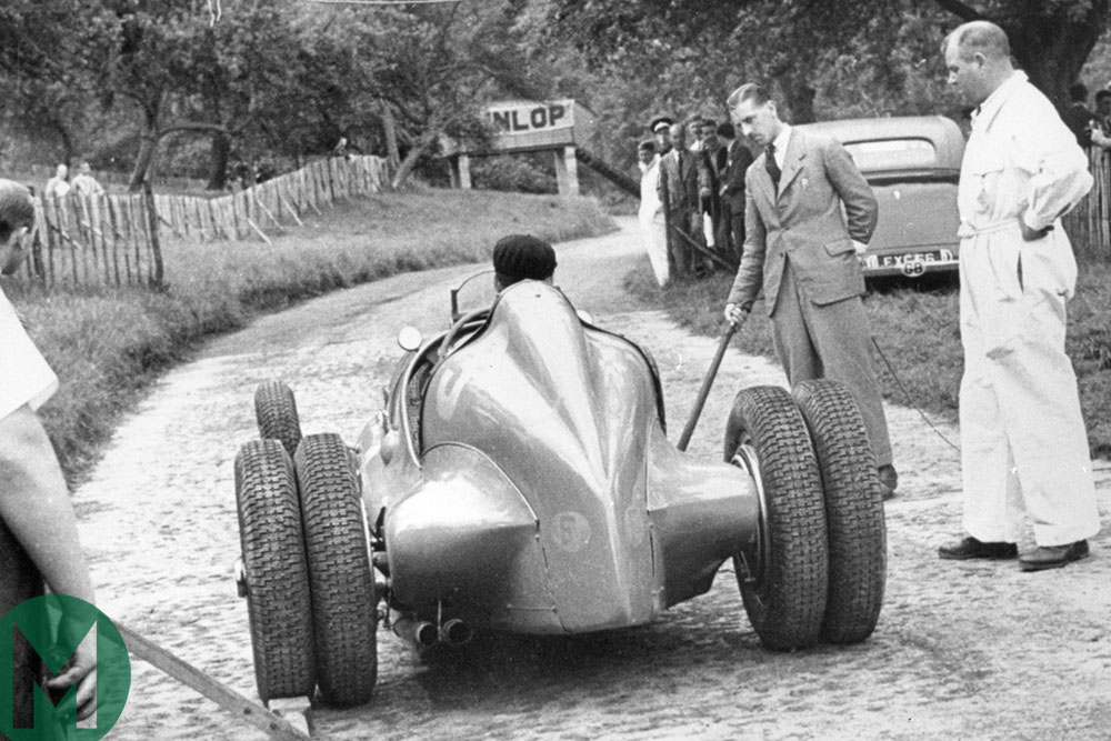 Jean-Pierre Wimille in the Works 59/50B Bugatti at Prescott in 1939