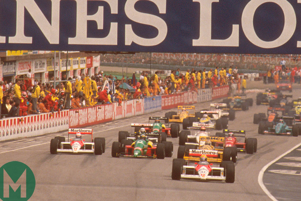 Ayrton Senna leads at the start of the 1988 San Marino Grand Prix