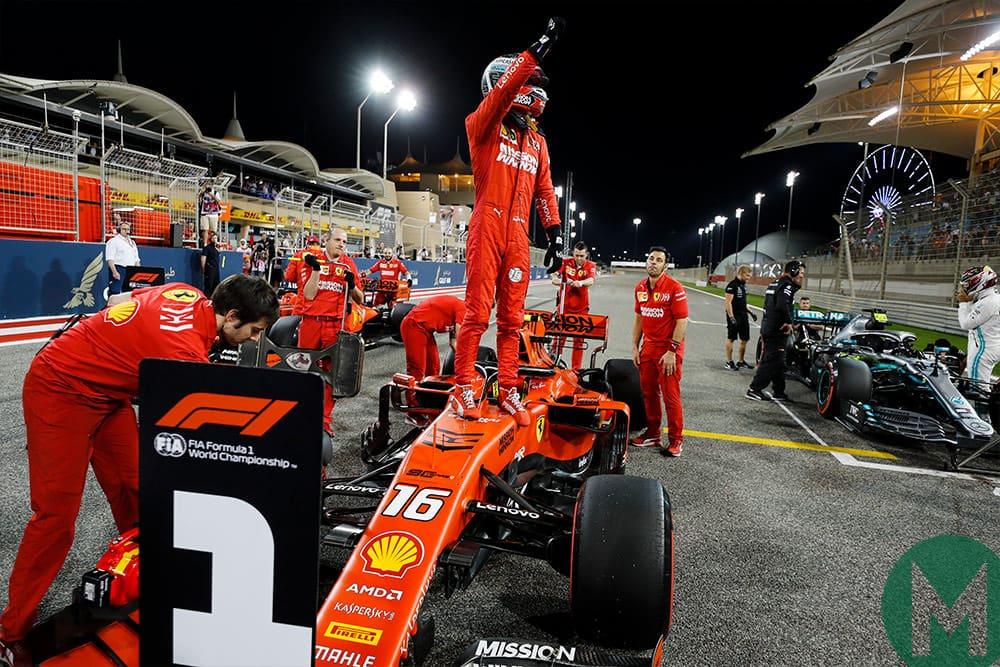 Charles Leclerc celebrates pole position 2019 Bahrain