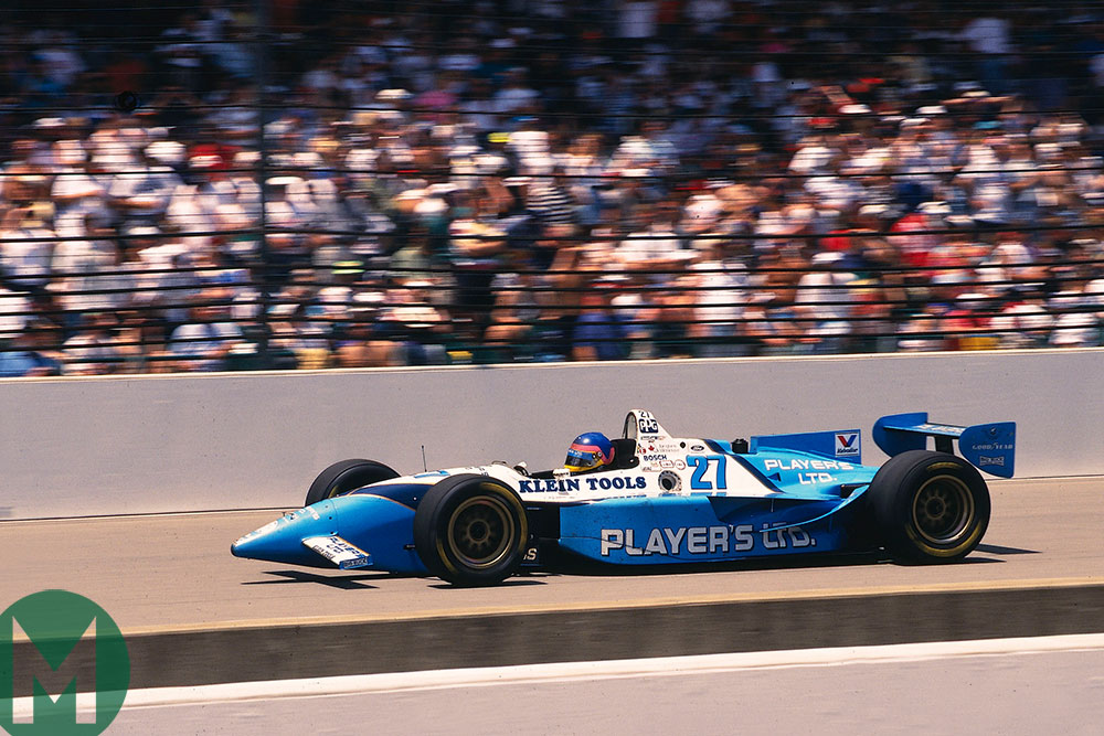 Jacques Villeneuve on the way to winning the 1995 Indianapolis 500