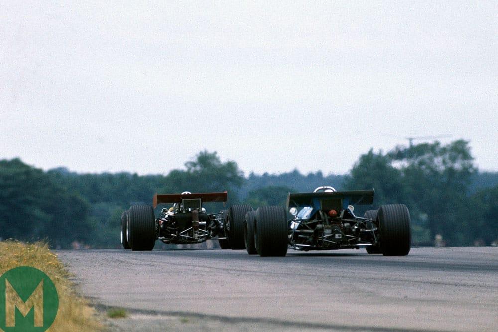 Rindt's Lotus leads Stewart's Matra at Silverstone in 1969's British Grand Prix