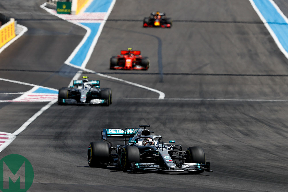 Four leading drivers with steady gaps at the 2019 French Grand Prix