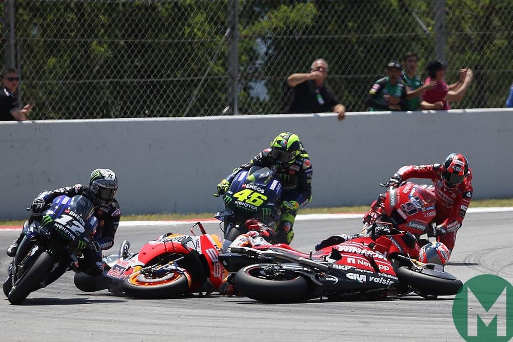 Jorge Lorenzo triggers a pile-up at the 2019 MotoGP Catalan Grand Prix