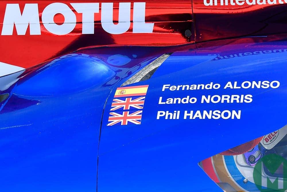 Names of Alonso, Norris and Hanson on Daytona United Autosports car