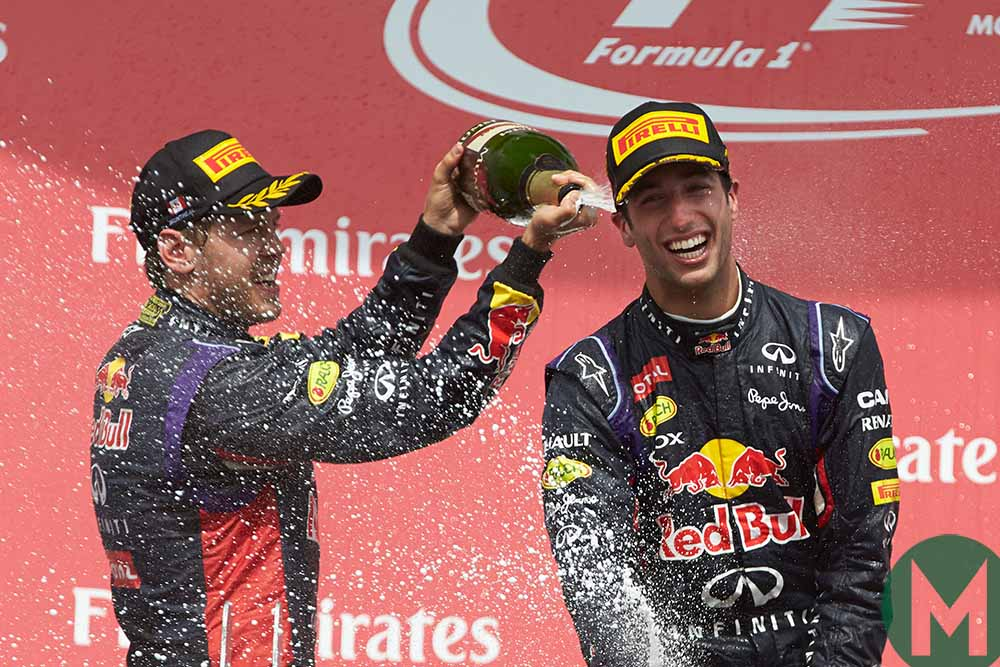 Race-winner Daniel Ricciardo on the podium at the 2014 Canadian Grand Prix