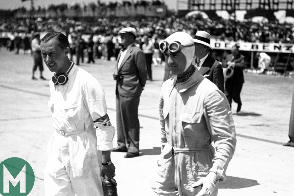 Rene Dreyfus and Louis Chiron at Montlhery in 1935
