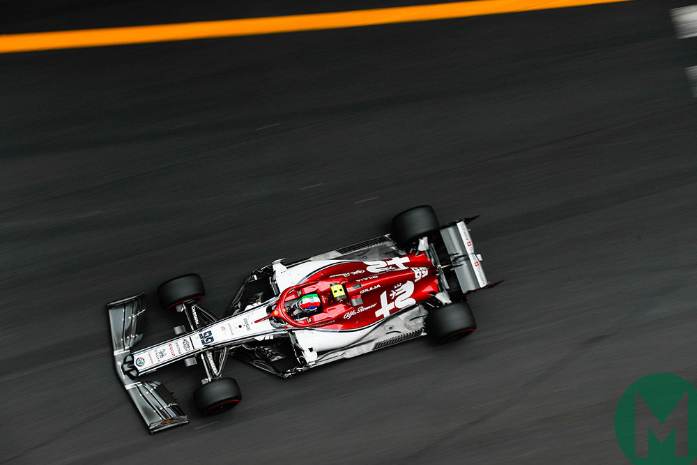 Antonio Giovinazzi in his Alfa Romeo at Monaco GP