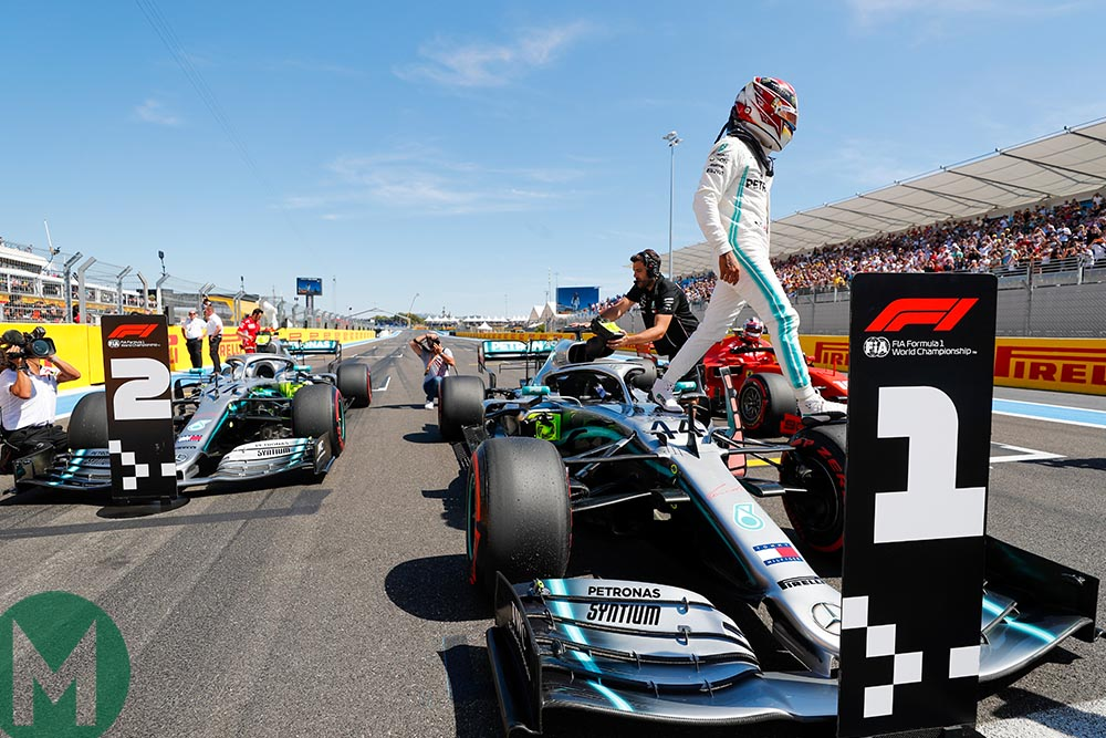 Lewis Hamilton parks his car in the No1 position after securing pole at the 2019 French Grand Prix