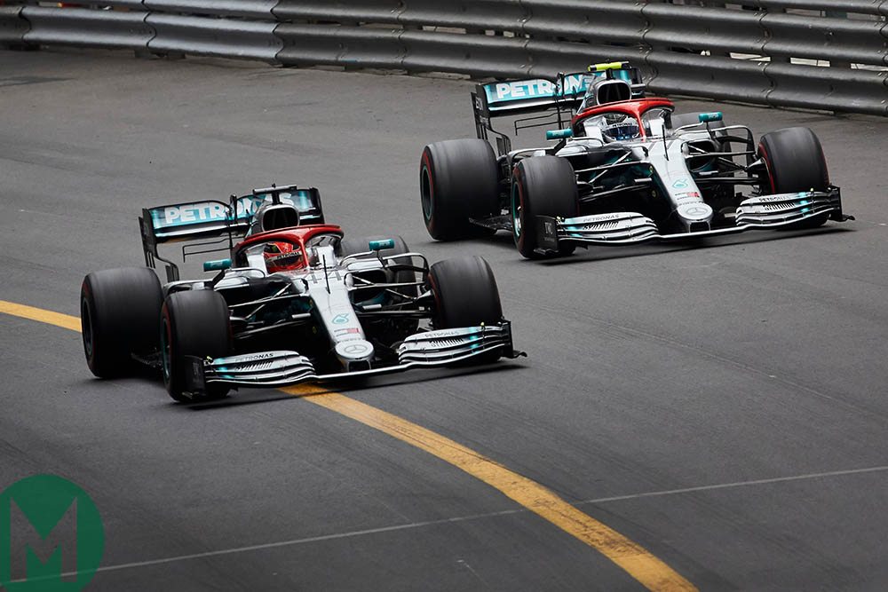 Hamilton and Bottas at the 2019 Monaco Grand Prix