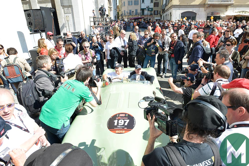 Norman Dewis and Stirling Moss at the 2012 Mille Miglia