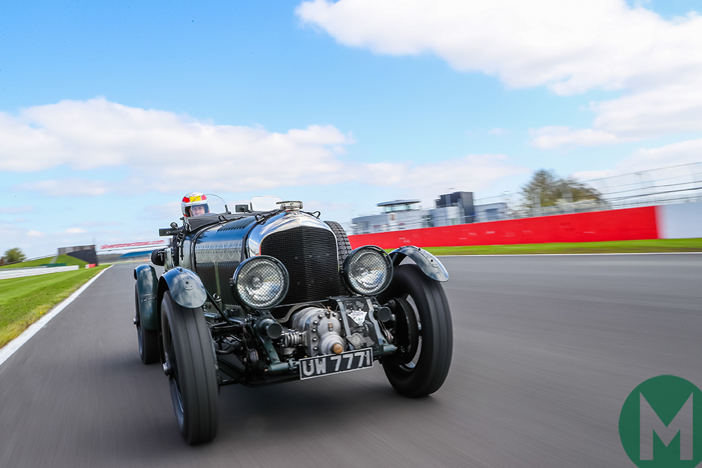 Tom Kristensen at the wheel of a Bentley Blower at Silverstone