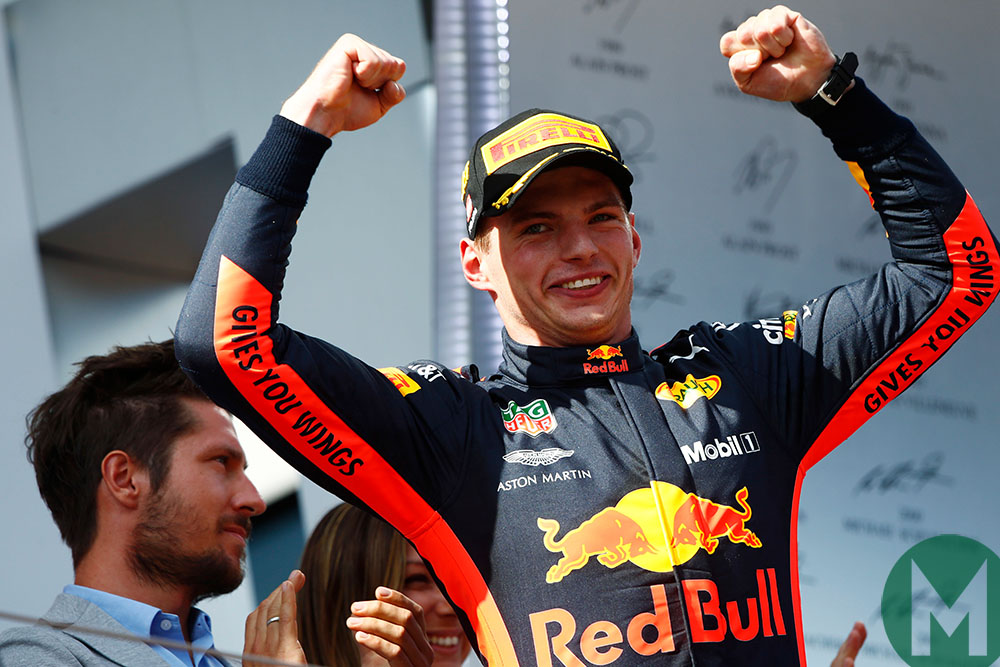 Max Verstappen celebrates on the podium after winning the 2018 Austrian Grand Prix