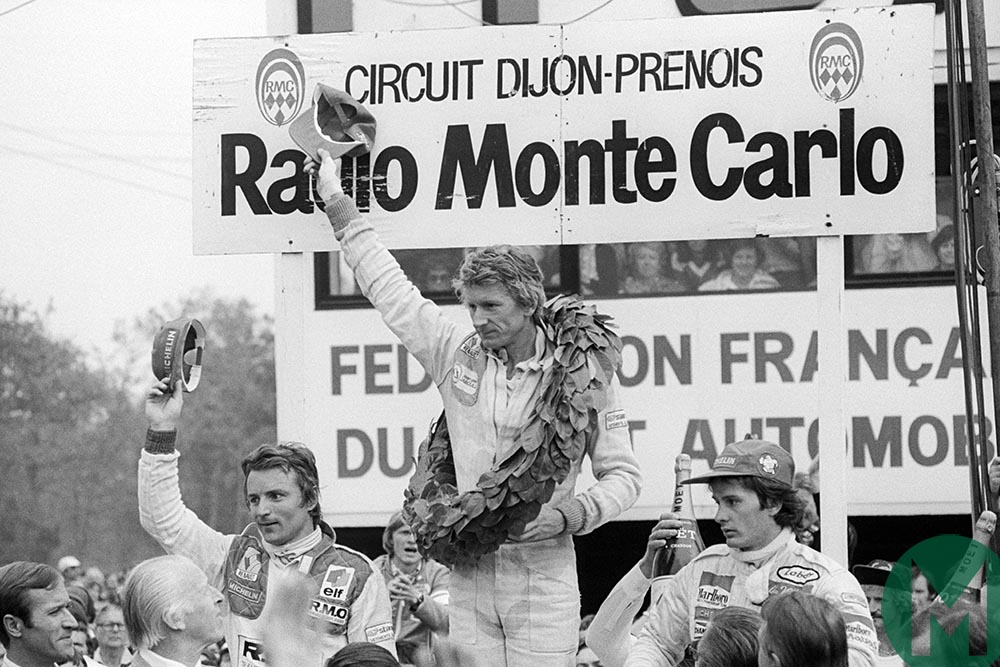 Arnoux, Jabouille and Villeneuve on the podium at the 1979 French Grand Prix