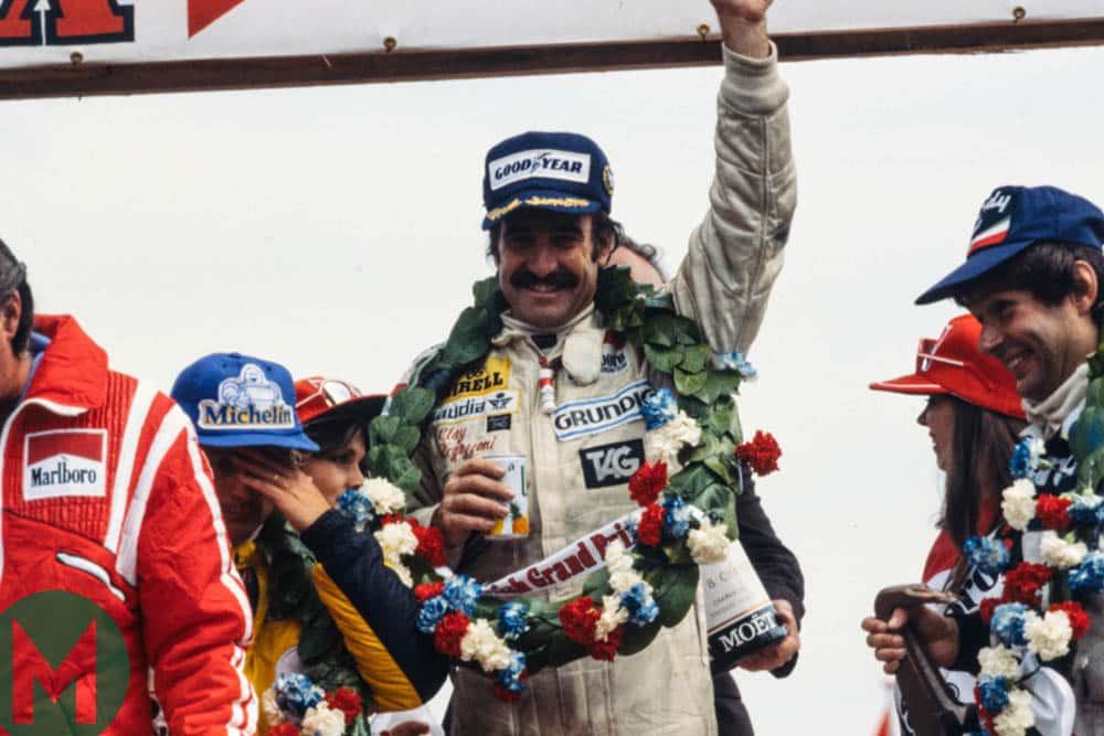 Clay Regazzoni celebrates after winning Williams its first Formula 1 race
