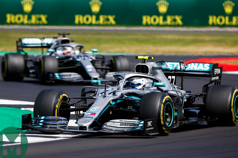 Lewis Hamilton pressured his Mercedes team-mate into over-working his tyres during the 2019 British Grand Prix