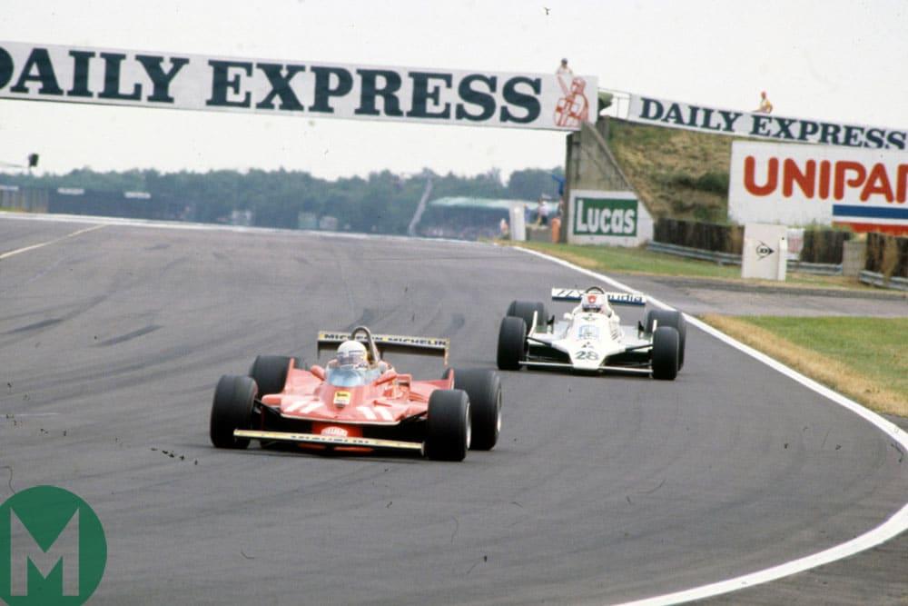 Jody Scheckter leads Clay Regazzoni during the 1979 British Grand Prix