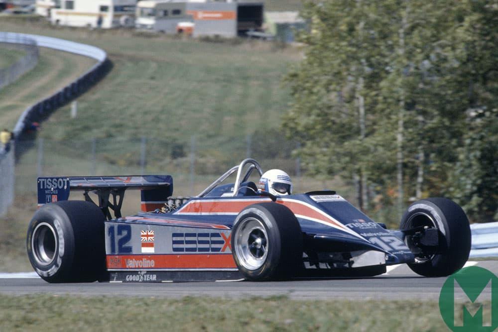 Elio de Angelis in Essex branding for Lotus at Watkins Glen in 1980