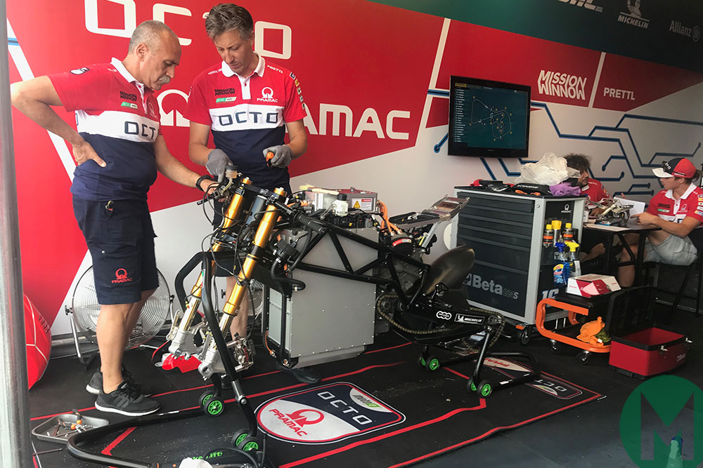 German GP 2019 Pramac mechanics & Alex De Angelis' MotoE bike
