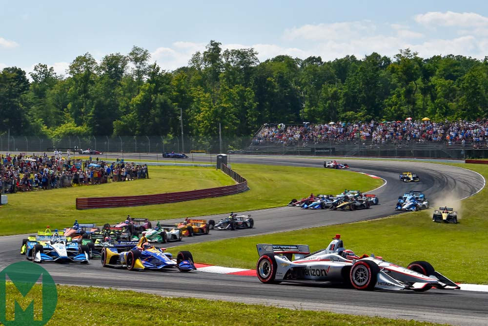 Will Power leads the field early on during the Honda Indy 200 at Mid-Ohio