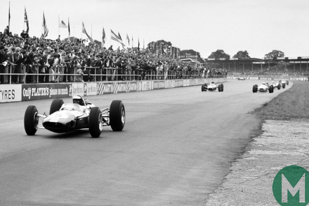 Jim Clark builds his lead in the 1965 British Grand Prix