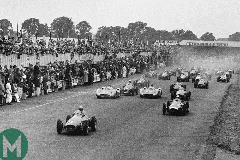 José Froilán González leads from the off for Ferrari in the 1954 British Grand Prix at Silverstone