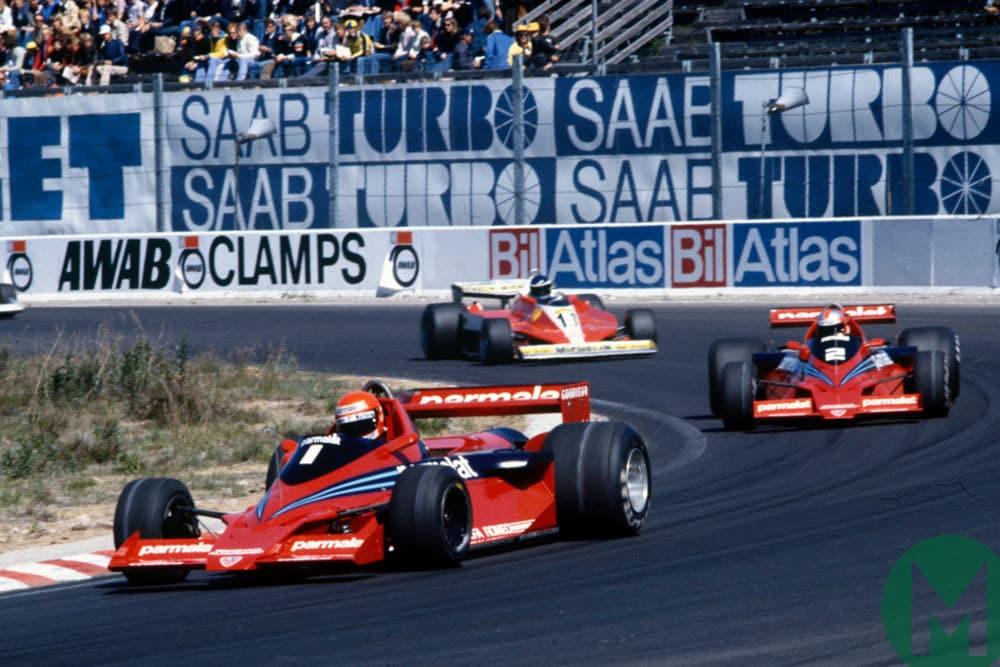 Niki Lauda leads from John Watson in the Brabham BT46B at the 1978 Swedish Grand Prix