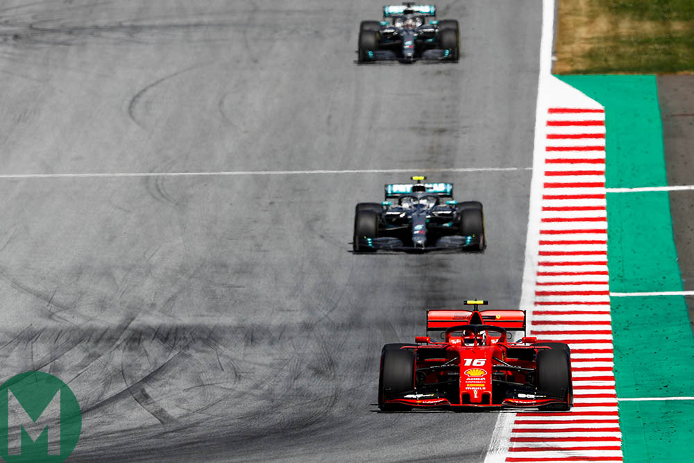 Charles Leclerc leads from Valtteri Bottas and Lewis Hamilton at the start of the 2019 Austrian Grand Prix
