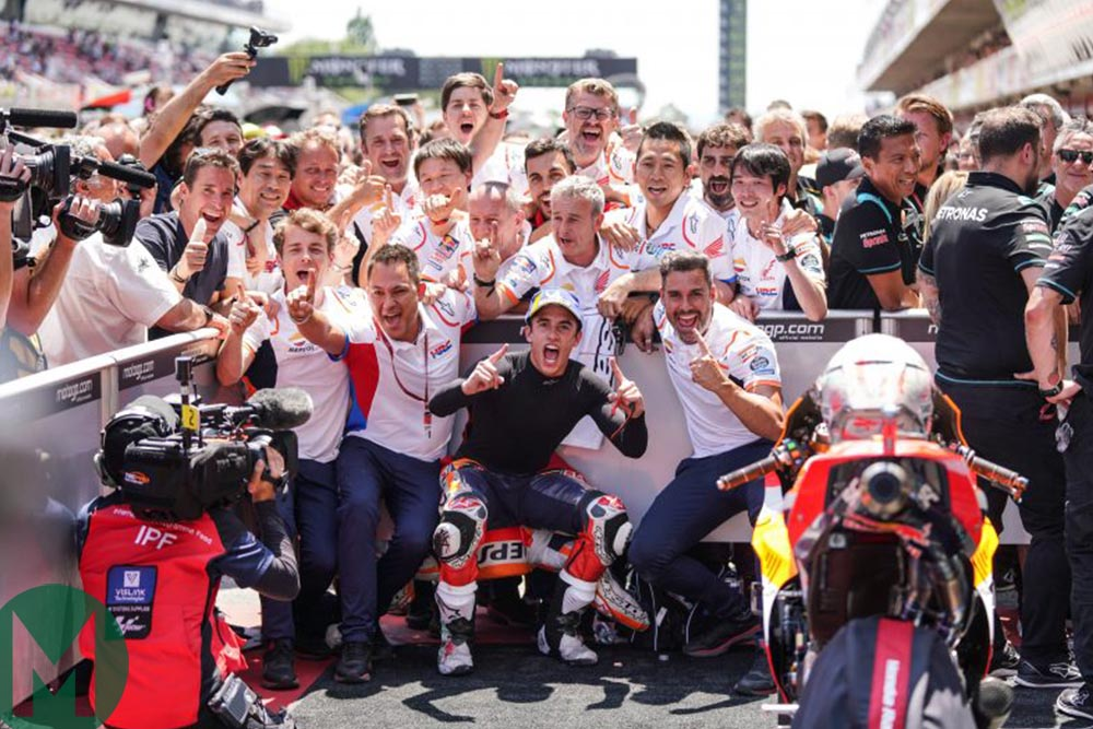 Marquez celebrates with the Honda team