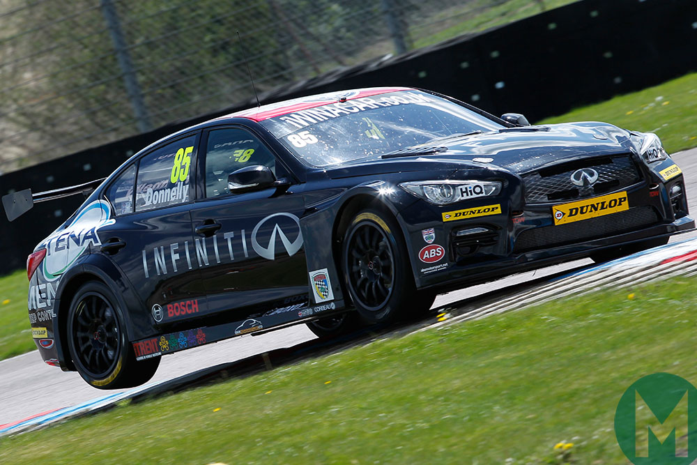 Donnelly has tried his hand at the British Touring Car Championship too - here he attacks Thruxton in 2015