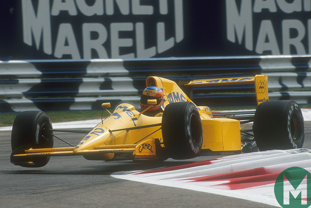 Martin Donnelly attacks the kerbs in his Lotus in the 1990 Italian Grand Prix
