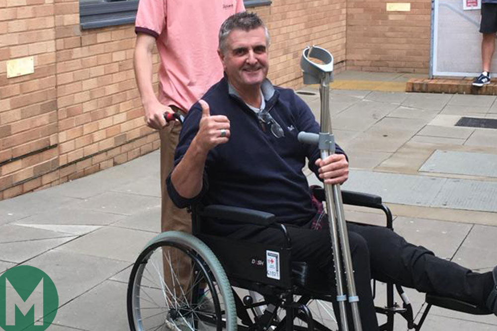 Martin Donnelly gives the thumbs-up as he starts his recovery from his recent motorbike accident