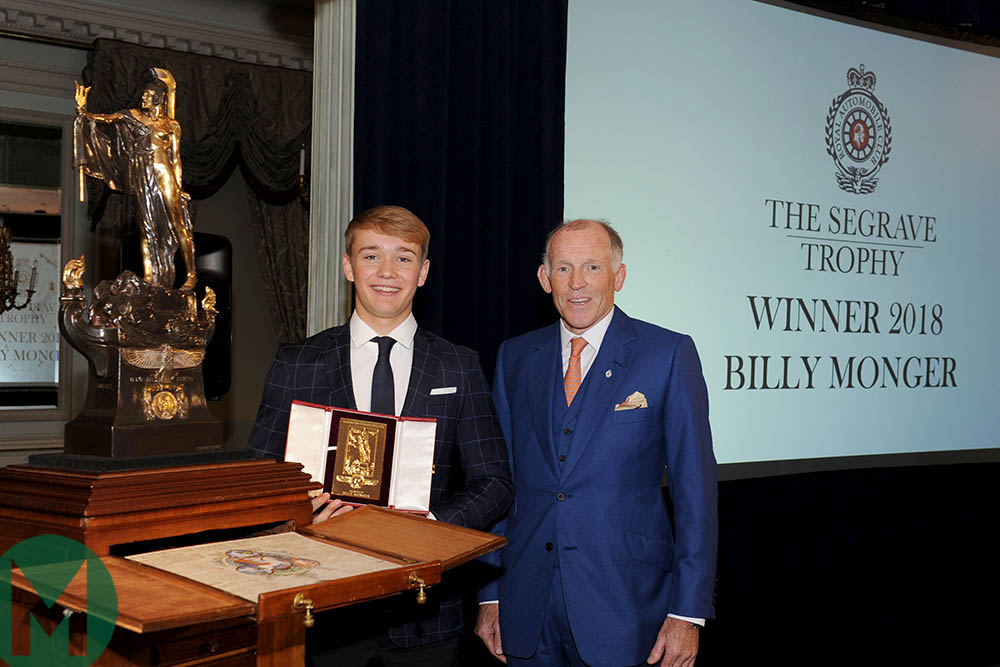 Billy Monger is presented with the Segrave Trophy