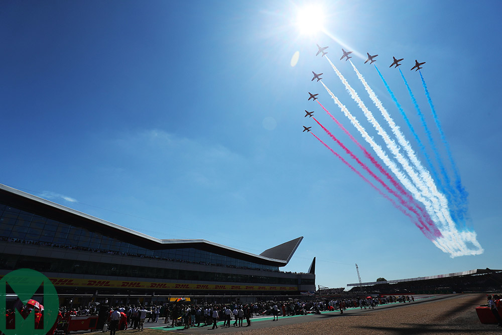 Red Arrows over Silverstone