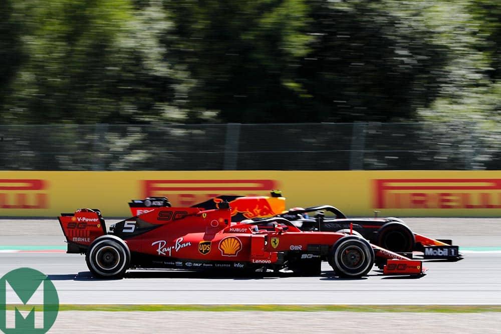 Max Verstappen overtakes Sebastian Vettel at the 2019 Austrian Grand Prix