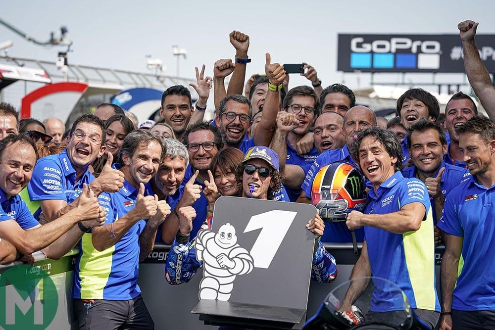 Alex Rins celebrates victory at the 2019 MotoGP British Grand Prix