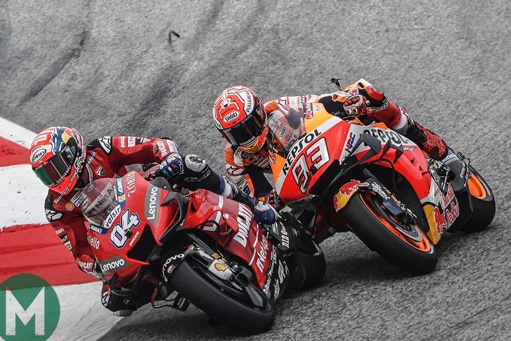 Andrea Dovizioso passes Marc Marquez to take the lead of the 2019 MotoGP Austrian Grand Prix