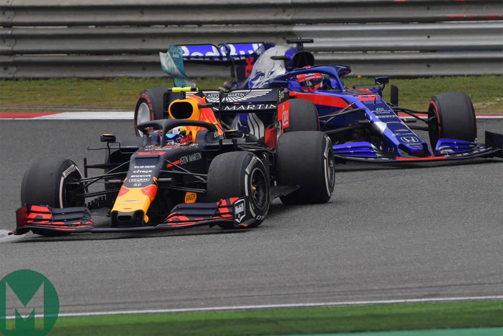 Pierre Gasly fights with Daniil Kvyat during the 2019 Chinese Grand Prix