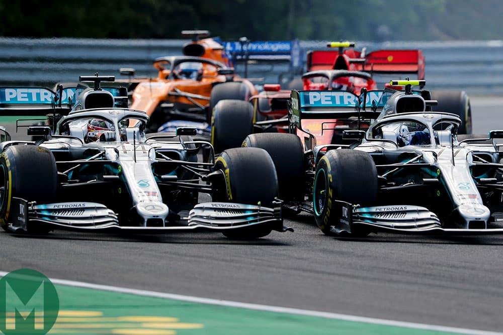 Fine racecraft got Hamilton ahead of his Mercedes team-mate Valtteri Bottas in the opening corners