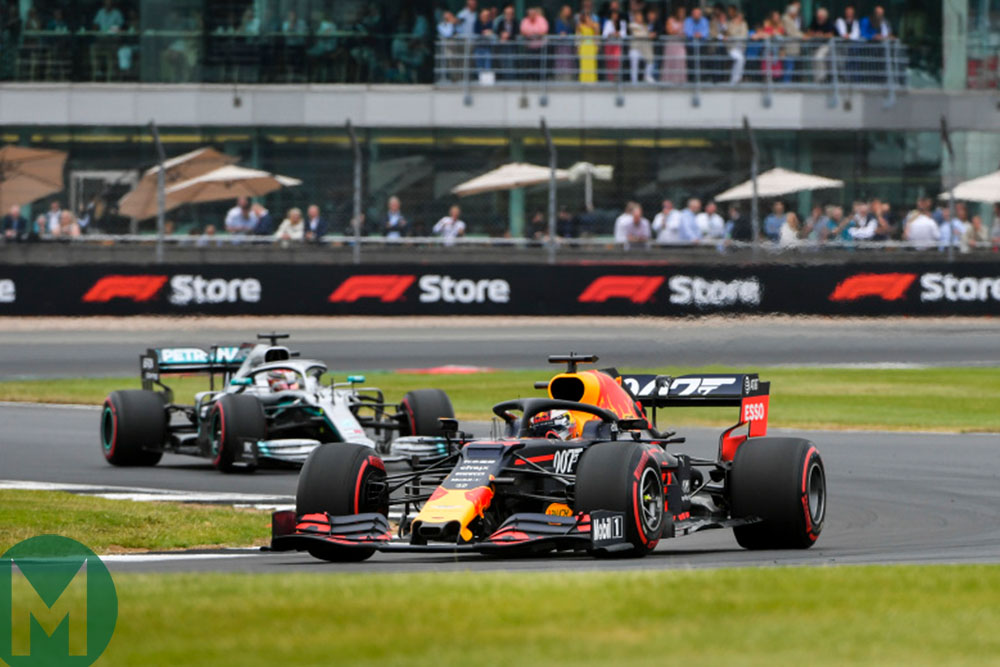 Lewis Hamilton chases down Max Verstappen during the 2019 British Grand Prix