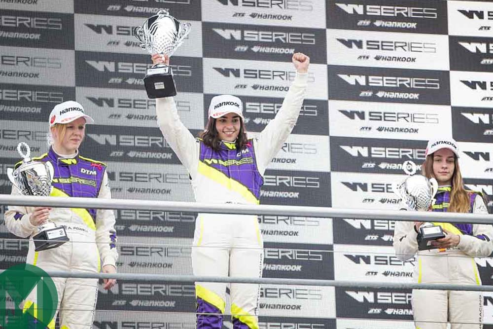 Jamie Chadwick celebrates victory at Hockenheim in W Series