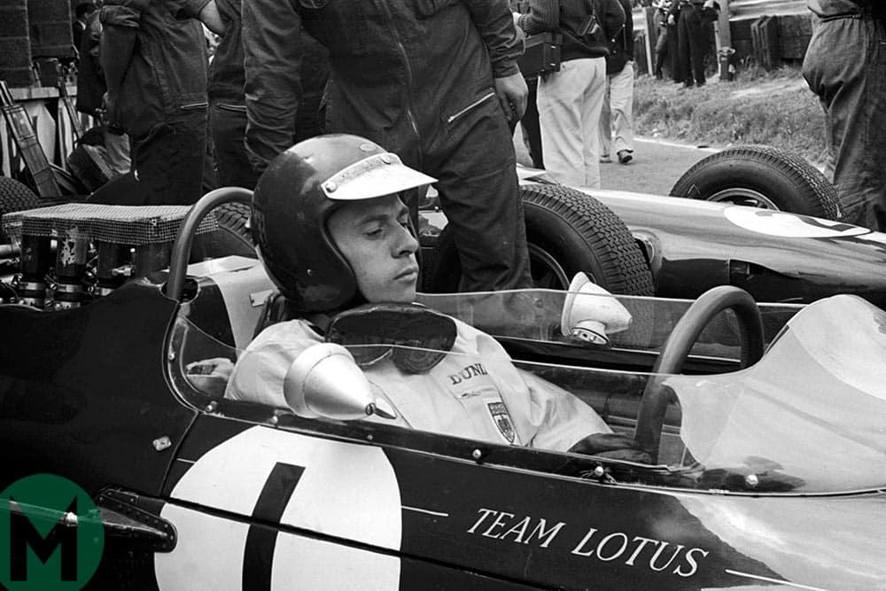 Jim Clark in his Lotus at the 1964 British Grand Prix
