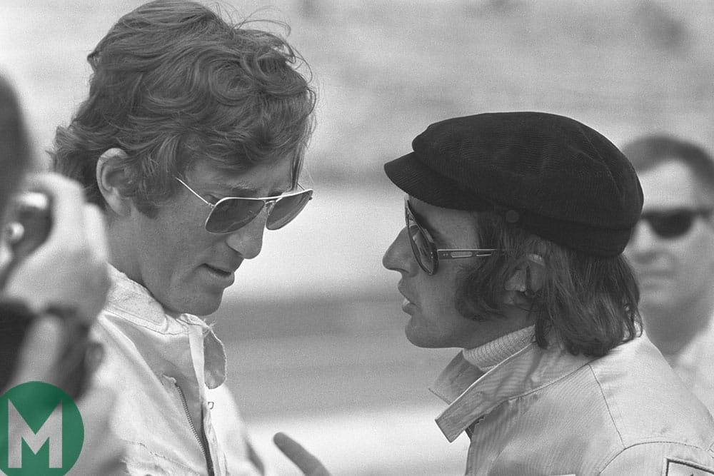 Jochen Rindt and Jackie Stewart in discussion