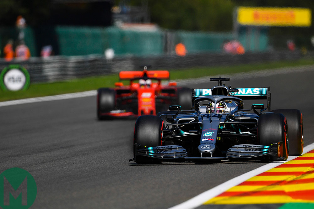 Lewis Hamilton ahead of Sebastian Vettel during qualifying for the 2019 Belgian Grand Prix
