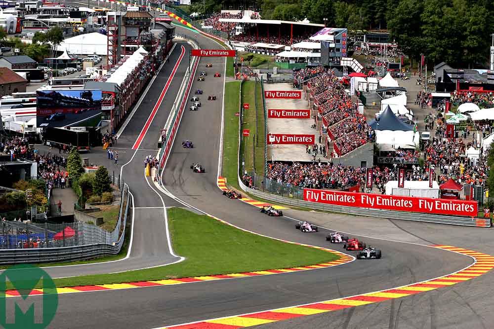 Lewis Hamilton leads the start of the 2018 Belgian Grand Prix